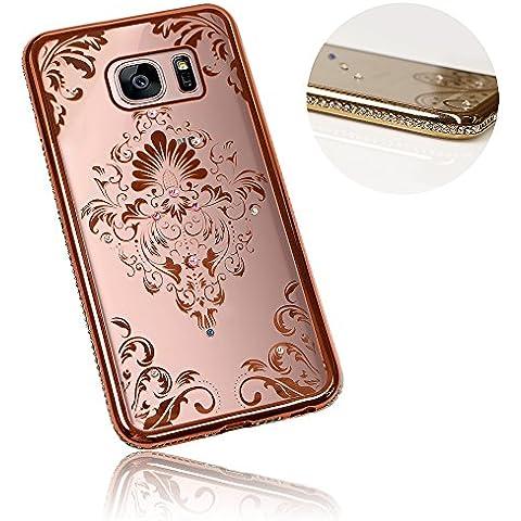 Xtra-Funky Serie Samsung Galaxy S7 PLUS Sottile Custodia in Silicone con Cristallo Scintillante Bordatura & Damasco Floreale - Oro Rosa
