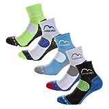 More Mile London (5 Pack) Mens Running Socks, Multi, UK 8.5-10.5