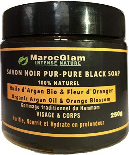 Savon Noir Gommage 250g,Huile d'Argan et Fleur d'Oranger - 100% NATUREL Gommage au savon noir...