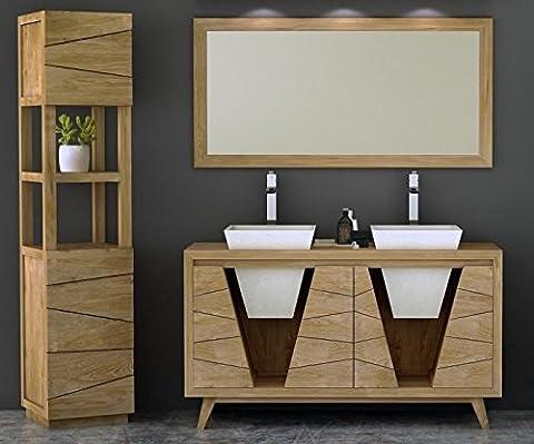 Walk - CA-520-160-nat - Meuble de salle de bain en teck - océane l160 cm 3 portes
