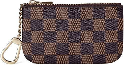 Mebest Luxury Karierte Zip Checkered Schlüsselanhänger Beutel PU Vegan Leder Mini Coin Purse Wallet mit Verschluss Unisex-Braun -