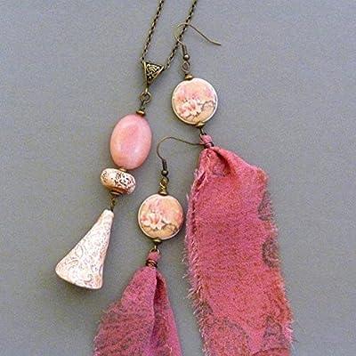 Parure Bijoux Rose Femme, Bijoux Romantique, Collier Jade, Boucles d'Oreilles Fleur, Boucles d'Oreilles Tissu Soie, Idée Cadeau Anniversaire