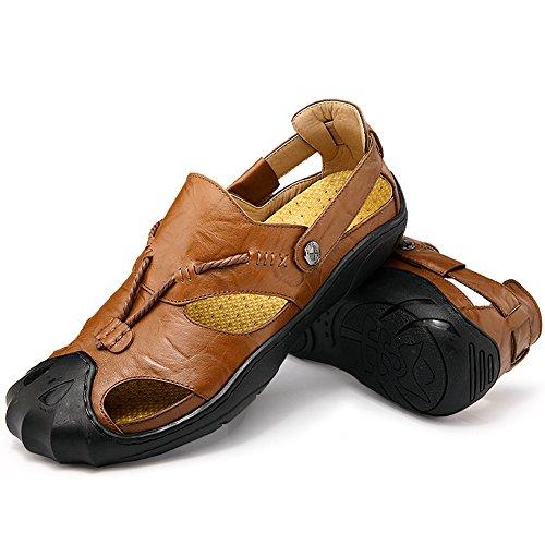 Sandali sportivi estivi in pelle scarpe da uomo all'aperto chiuse traspiranti pescatore sandalo