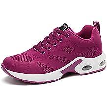 Zapatillas Deportivas de Mujer Air Cordones Zapatillas de Running Fitness Sneakers 4cm Negro Rojo Rosado Púrpura