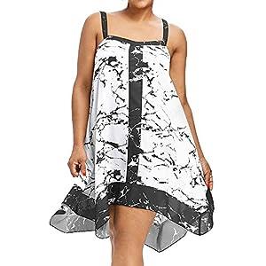 YCQUE Frauen Sommer Vintage Sling Halter Lose Plus Size Sleeveless Riemchen Druck Lässig Strand Sommerkleid Partykleid