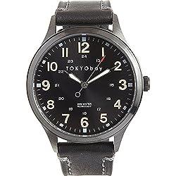 Tokyobay T227-BK Herren Edelstahl Mason Schwarzes Lederband Schwarzes Zifferblatt Watch