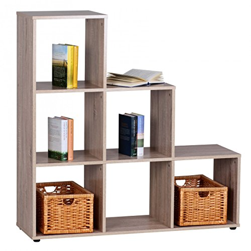 Wohnling Stufenregal Lucy Holz 6 Fächer Sonoma Standregal, 110 x 110 x 33,5 cm, Design Raumteiler...