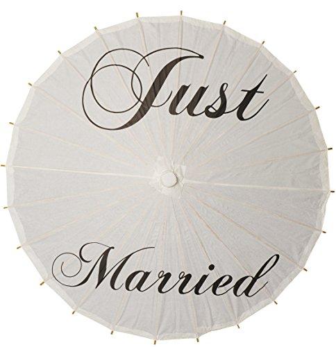 Hochzeitsschirm aus Papier 84 cm, Weiß, Just Married