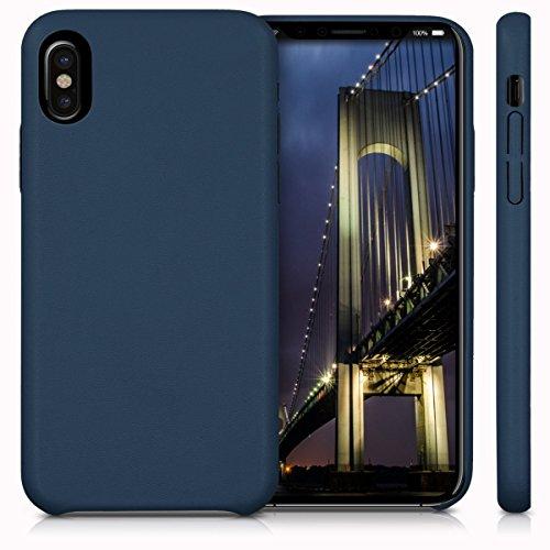 kwmobile Cover per Apple iPhone X - Custodia protettiva matt in similpelle - Backcover Case per cellulare blu scuro .blu scuro