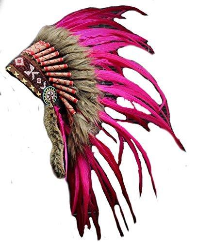 X23 - Sombrero Indio de plumas de color rosa, Penacho / Tocado / Headd