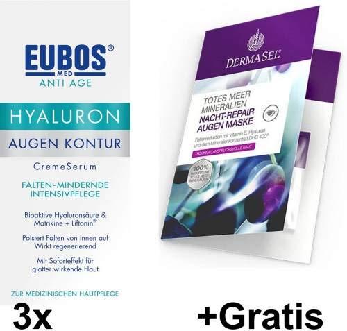 Eubos Hyaluron Augen Kontur Spar-Set 3 x 15 ml + Gratis Nacht-Repair Augen Maske. Falten minderndes Creme-Serum Bioaktive Hyaluronsäure &...