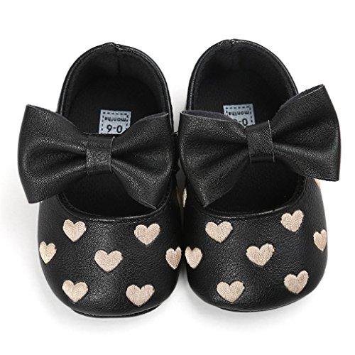 BZLine® Bowknot PU Cuir Chaussures à Semelle en Tissu, à Motif des Cœurs pour Bébés 0-18Mois (0~6Mois, Blanc) Noir
