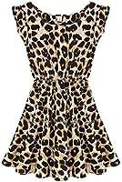 Demarkt® New Women's Chic Leopard Print Sleeveless Dress Round Neck One-piece Design OL Pleated Mini Dress Cocktail Club Party Costume Wear Upper Thigh Size S