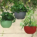 Antier 3 Pcs Watering Plastic Hanging Basket Hanging Pots with Rattan Surface in Multicolor