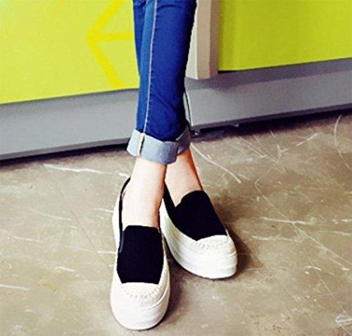 La signora della molla è aumentato scarpe scarpe ascensore scarpe di paglia focaccina scarpe piattaforma delle donne Black