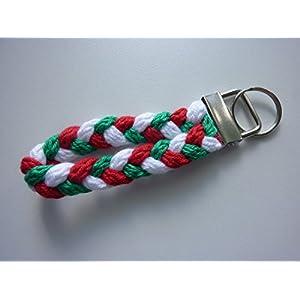 1 Schlüsselanhänger Schlüsselband in rot weiß grün aus Strickliesel-Schnüren