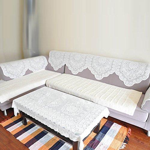 Hrph Belle Blanche Dentelle Broderie Nappe Dîner Serviette Canapé Sofa Décoration de Table Ronde Carré Rectangle Ovale
