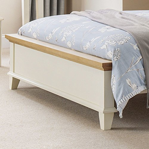 Happy Beds Portland Bed Wooden Two Tone Top Stone White Oak Frame 5' King Size 150 x 200 cm