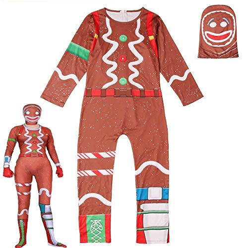 Lebkuchen Mann Kostüm Machen - QYS Lebkuchen Overall Kostüm Halloween Cosplay Kostüm mit Maske,Girl,180cm