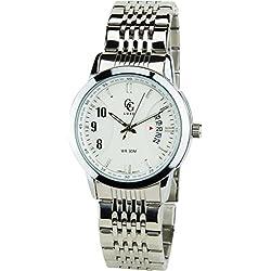 GG LUXE - Herren ArmbanduhrSilber Quarz Stahl Analog Display Typ Datum Water resist 3 ATM stilvoll Sport Modus Armband SilberStahl