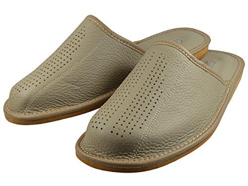 Natural Line Herren Leder-Hausschuhe, mit orthopädischer Innensohle oder mit Wolle gefüttert, erhältlich in verschiedenen Farben Grau