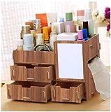 YOSPOSS Organizador de escritorio de madera para maquillaje KZ1254-147 belleza de madera organizador de maquillaje cosmético perfume caso primavera flor cosmético caja de almacenamiento con 3 cajones (con espejo de maquillaje), I, BIG