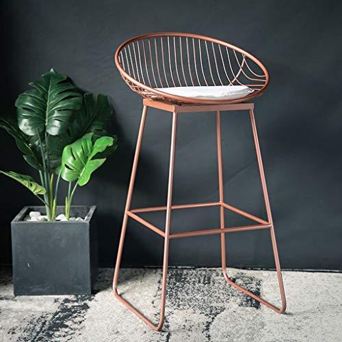 Metall Barhocker Europäische Rückenlehne Hohe Hocker Einfache Cafe Bar Seat Home Esszimmer Stuhl Hocker A+ (Farbe : Roségold, größe : 72cm) -