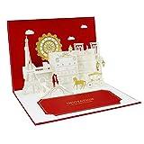 Weeygo Biglietto di auguri di matrimonio pop-up 3D con busta rossa Carta regalo per matrimonio invito giorno di nozze San Valentino