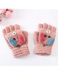 Zeagro Guantes para niños sin dedos – Guantes cálidos de invierno para invierno, guantes de punto de medio dedo, guantes para niños, regalo de Navidad cumpleaños (rosa 2)