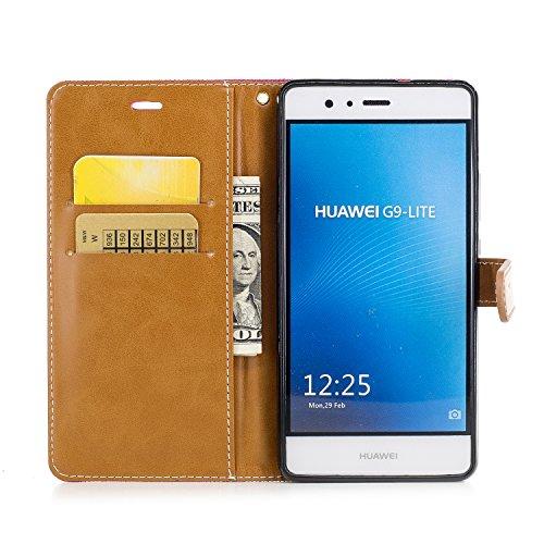 Custodia per Huawei P9 Lite, ISAKEN Flip Cover per Huawei P9 Lite con Strap, Elegante Bookstyle Contrasto Collare PU Pelle Case Cover Protettiva Flip Portafoglio Custodia Protezione Caso con Supporto  Marrone+roseo