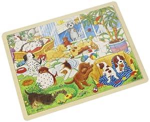 Goki-57893 maderaPuzzles de maderaGOKIEscuela de Cachorros, Puzzle, (4013594578936)