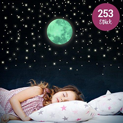 WANDKINGS Leuchtaufkleber Mond im Set mit 250 Sternen - Wandsticker - Fluoreszierend & im Dunkeln Leuchtend