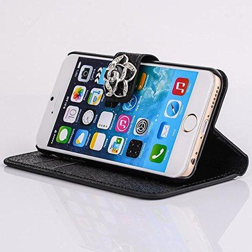 """inShang Hülle für Apple iPhone 6 Plus iPhone 6S Plus 5.5 inch iPhone 6+ iPhone 6S+ iPhone6 5.5"""", Cover Mit Modisch Klickschnalle + Errichten-in der Tasche + SILK PATTERN FLOWER DECORATION , Edles PU L camellia black"""