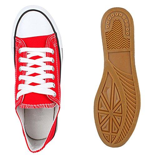 Sportliche flache Damen Sneakers Low Stoffschuhe Schnürer Rot