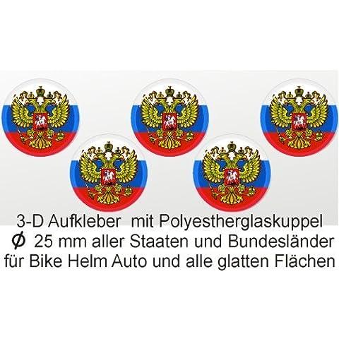 3d etiqueta redonda, Rusia Con Escudo, pegatinas en 3d, países Decorar, cubierto con cúpula de PVC, 5unidades en Set 25mm de