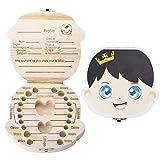 SNAGAROG Holz Zahnbox Kinder Milchzähne Box Souvenir Zahnbox Französisch Milchzahndose (Prinz-Version)