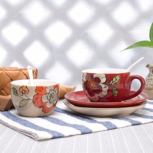 SSBY Des tasses à café et soucoupes fonction de caractéristiques de la restauration des voies anciennes tasse en céramique, rouge