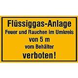 INDIGOS UG - Flüssiggas-Anlage Feuer und Rauchen im Umkreis Hinweisschild, Alu-Dibond 30x20 cm - Warnung - Sicherheit - Hotel, Firma, Haus