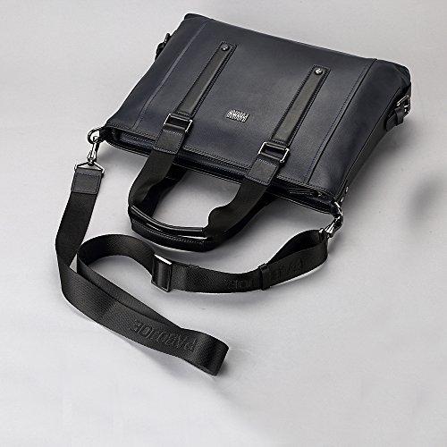 Oneworld Herren Rindleder Messenger Bag Aktentasche Schultertasche Notebooktasche Handtasche Umhängetasche Schultasche Tote Bag 35x26x6cm(BxHxT) Blau Schwarz
