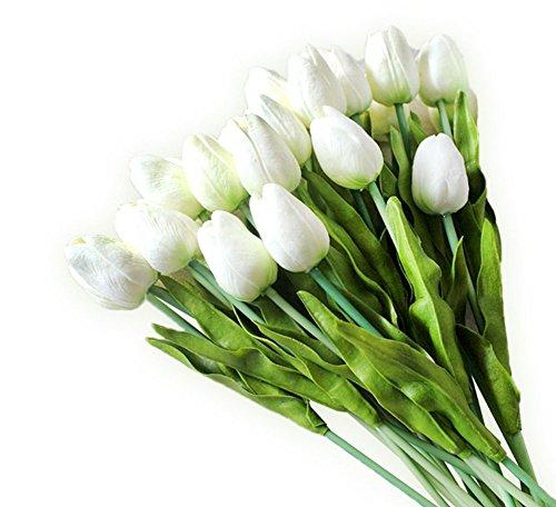 20 Pcs Tulipanes Artificial Tacto Verdadero Flores Artificiales Material de PU Adorno para Boda Ceremonias Navidad Hogar, Color Blanco