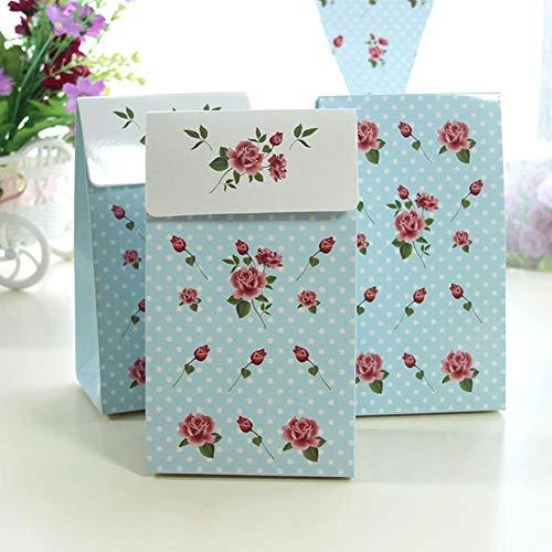6pcs Rose Muster Papier Geschenkbox Floral Geschenkverpackung Handheld Candybox