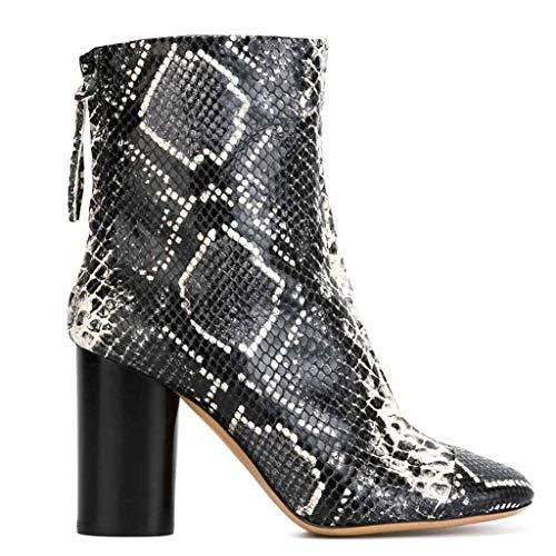Xiaodun77 Frauen Snakeskin Muster-Leder-Stiefelette Spitz Ankle Boots mit Reißverschluss Chunky High Heel Arbeitsschuhe Short Boots Warm,A,38 (Kalb Ultra Boot Breites)
