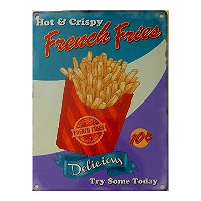 Hot & Crispy Pommes frites Metal Sign-Acier 20 x 15 cm