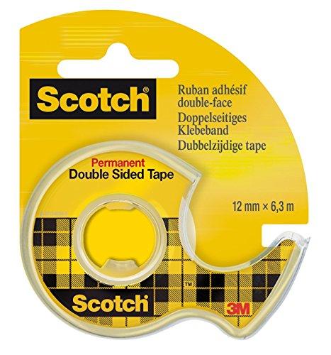 Preisvergleich Produktbild Scotch 665H1263 doppelseitiges Klebeband, 12 mm x 6.3 m, transparent