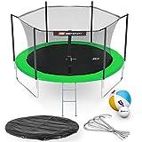 Hop-Sport Gartentrampolin Outdoor Trampolin 244, 305, 366, 430, 490 cm Komplettset inkl. Innennetz Leiter Wetterplane Bodenhaken grün (305 cm)