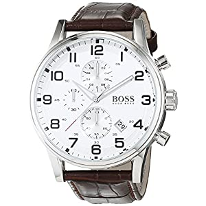 Hugo Boss Aeroliner Men's Quartz Silver Chronograph Brown Leather Strap 1512447