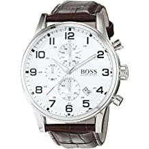 Elegante reloj cronógrafo para hombre Hugo Boss Aeroliner 1512447, de acero inoxidable y piel marrón.