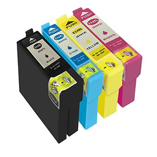 Preisvergleich Produktbild DOREE Satz von kompatiblen Tintenpatronen Ersatz für Epson 34XL T34XL T3471 T3472 T3473 T3474, WorkForce Pro WF-3720DWF, WF-3725DWF Drucker