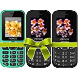 Combo Of 3 Mobiles(P4 Green Black+FM1 Black Red+Black Blue) With 1 Year Warranty