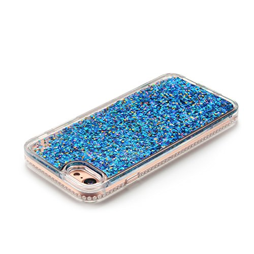 Cover iPhone 7 Custodia iPhone 7 Liquido Anfire Trasparente Rigida Duro Plastica PC Case per Apple iPhone 7 (4.7 Pollici) Sabbie Mobili Shell 3D Bling Glitter Floating Quicksand Copertura Hard Shock S Blu